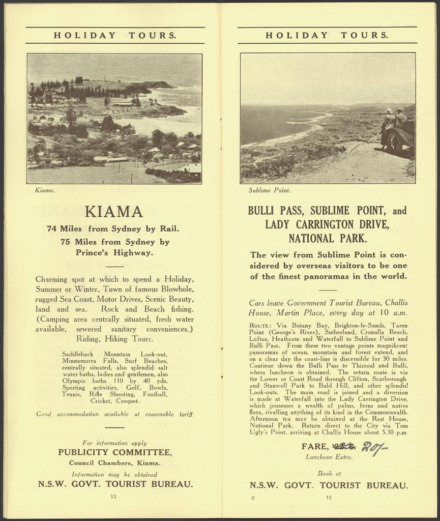 Pages 12 - Kiama. Page 13 - Bulli Pass, Sublime Point, Lady Carrington Drive, National Park. The view from Sublime Point is considered by overseas visitors to be one of the finest panoramas in the world. Digital ID 16410_a111_11a_000022_p12-13