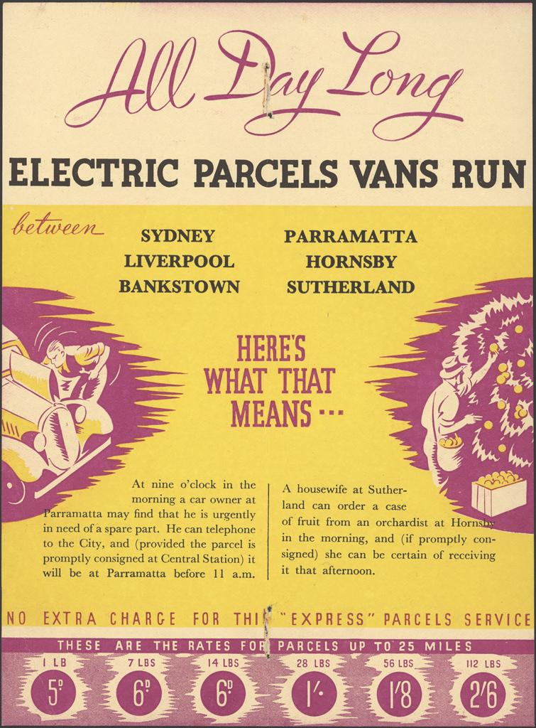 All day long electric parcels vans run 2 of 2. Album is dated 1936-1938. Digital ID 16410_a111_54a_000019_p2