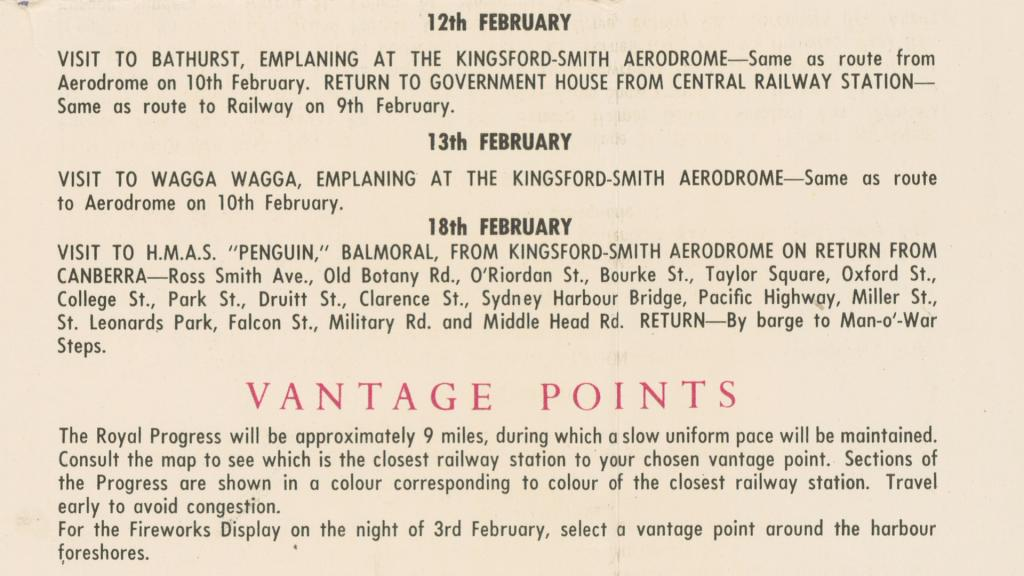 1954 Royal Visit Souvenir Guide showing itinerary for Sydney tour 12-13 & 18 February. NRS-16410_a111_6_000180