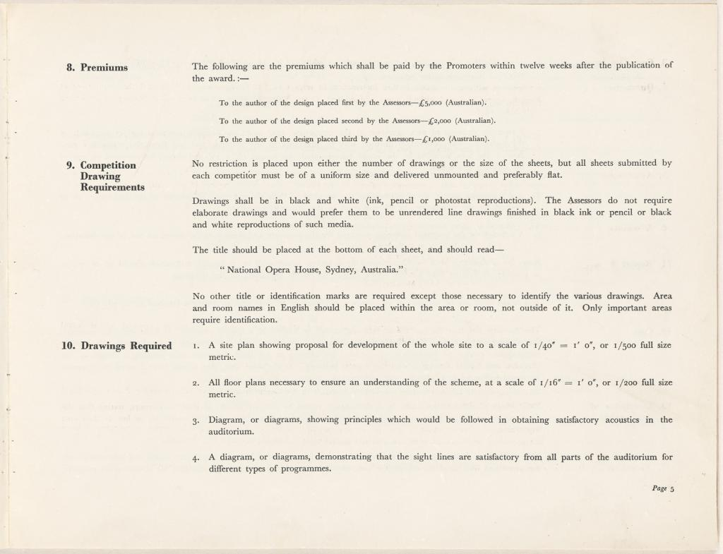 Conditions of Competition: Items 8-10. Sydney Opera House - The Brown Book, 1955. NRS 12702