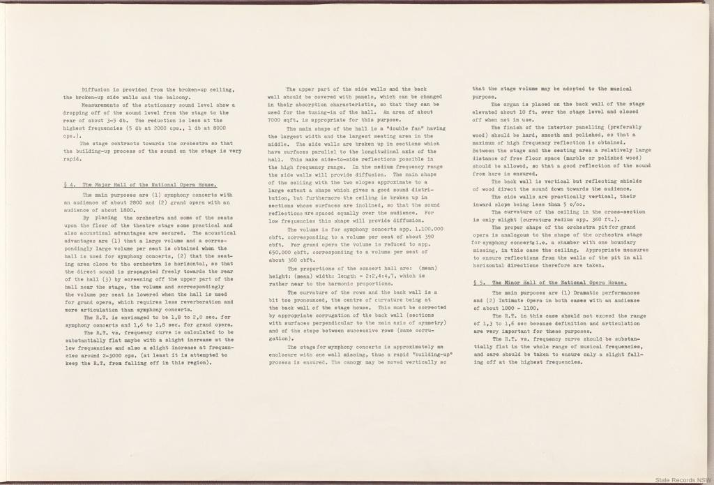 4. The Major Hall of the National Opera House. 5. The Minor Hall of the National Opera House. Sydney Opera House - Red Book. NRS 12707