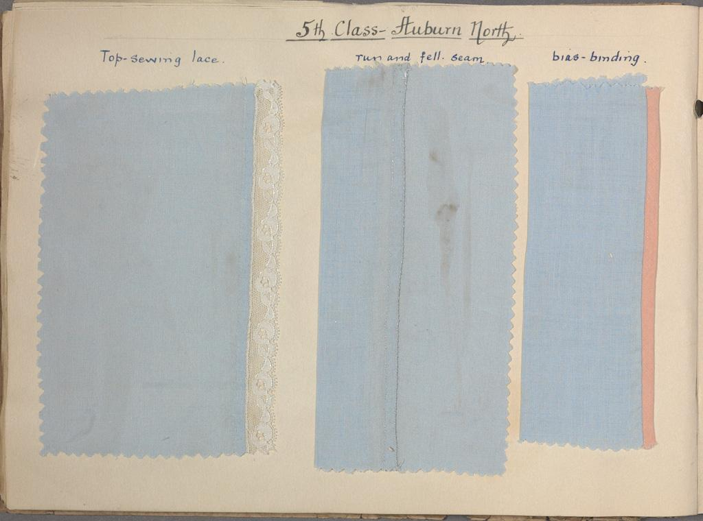 Sewing samples from Auburn North School, 1939.  NRS 3829 [5/14733.1]