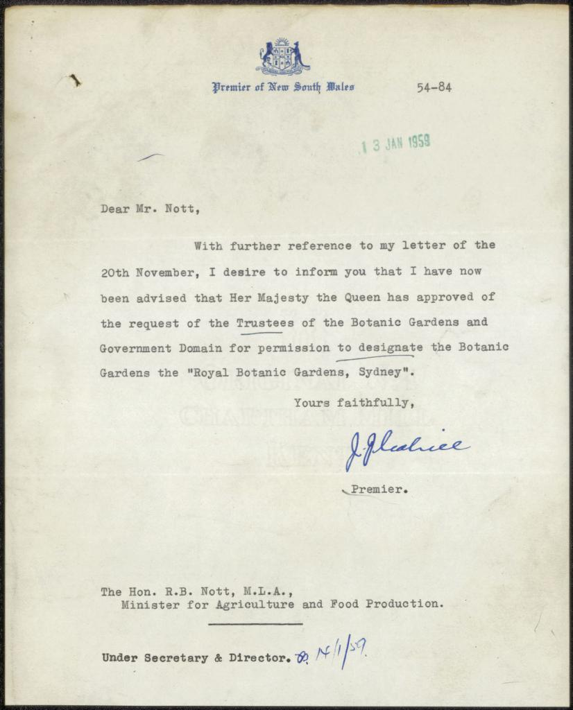 Fig. 25: Letter from Premier re: Queen's approval of prefix 'Royal', 13/01/1959. From NRS 13115, ASF 54