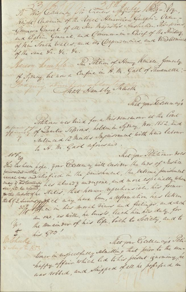 Kemble petitioned the Colonial Secretary from Parramatta Gaol NRS-905 Letter 53-7149 [4-3206] 1 of 2