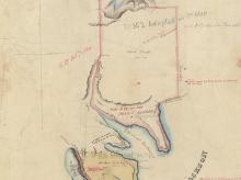 CROPPED Willoughby - Survey of part of the north Shore shewing the boundaries of the land grant to Alfred Thrupp and Robt, 20 Sep 1828. Digital ID NRS13886[X751]_a110_000031